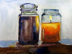 Two Candles, A Painting in Watercolor