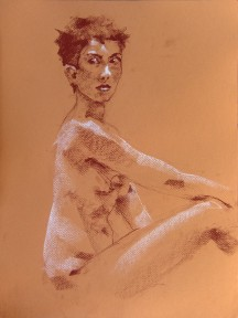 Nude Study of Bella, Conté on Paper, 9/3/2012